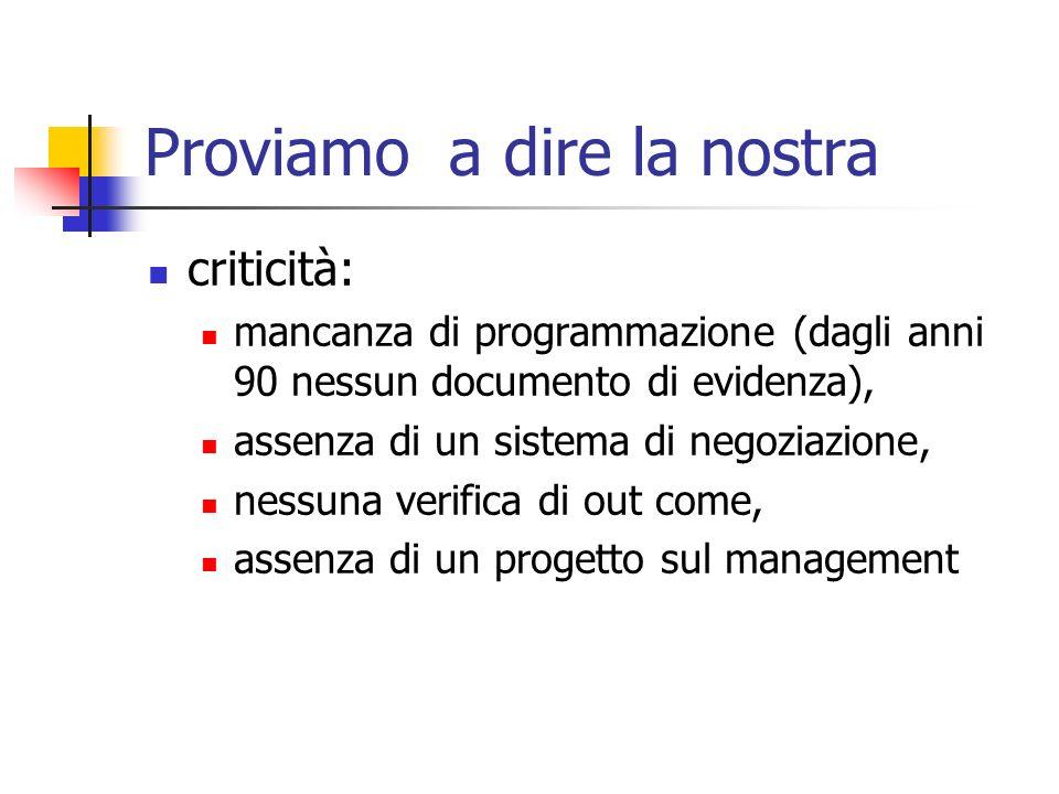Proviamo a dire la nostra criticità: mancanza di programmazione (dagli anni 90 nessun documento di evidenza), assenza di un sistema di negoziazione, n