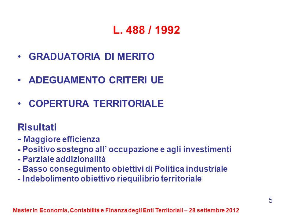 L. 488 / 1992 GRADUATORIA DI MERITO ADEGUAMENTO CRITERI UE COPERTURA TERRITORIALE Risultati - Maggiore efficienza - Positivo sostegno all occupazione