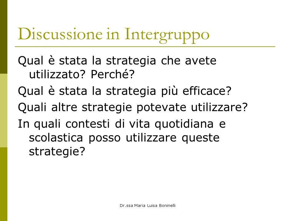 Discussione in Intergruppo Qual è stata la strategia che avete utilizzato? Perché? Qual è stata la strategia più efficace? Quali altre strategie potev