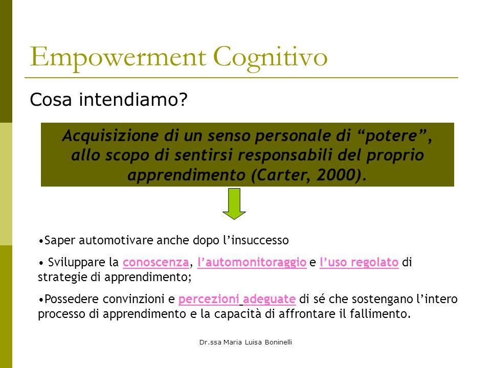 Dr.ssa Maria Luisa Boninelli Empowerment Cognitivo Cosa intendiamo? Acquisizione di un senso personale di potere, allo scopo di sentirsi responsabili