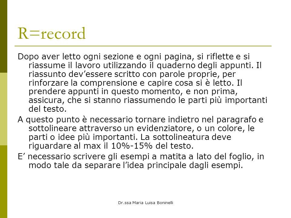 Dr.ssa Maria Luisa Boninelli R=record Dopo aver letto ogni sezione e ogni pagina, si riflette e si riassume il lavoro utilizzando il quaderno degli appunti.