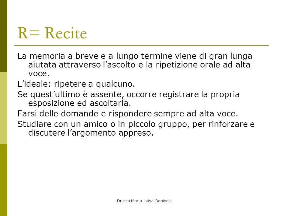 Dr.ssa Maria Luisa Boninelli R= Recite La memoria a breve e a lungo termine viene di gran lunga aiutata attraverso lascolto e la ripetizione orale ad alta voce.