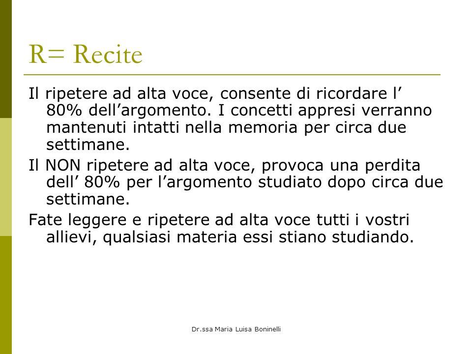 Dr.ssa Maria Luisa Boninelli R= Recite Il ripetere ad alta voce, consente di ricordare l 80% dellargomento. I concetti appresi verranno mantenuti inta
