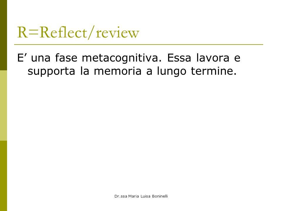 Dr.ssa Maria Luisa Boninelli R=Reflect/review E una fase metacognitiva. Essa lavora e supporta la memoria a lungo termine.