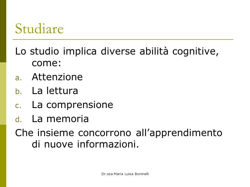 Dr.ssa Maria Luisa Boninelli Studiare Lo studio implica diverse abilità cognitive, come: a. Attenzione b. La lettura c. La comprensione d. La memoria