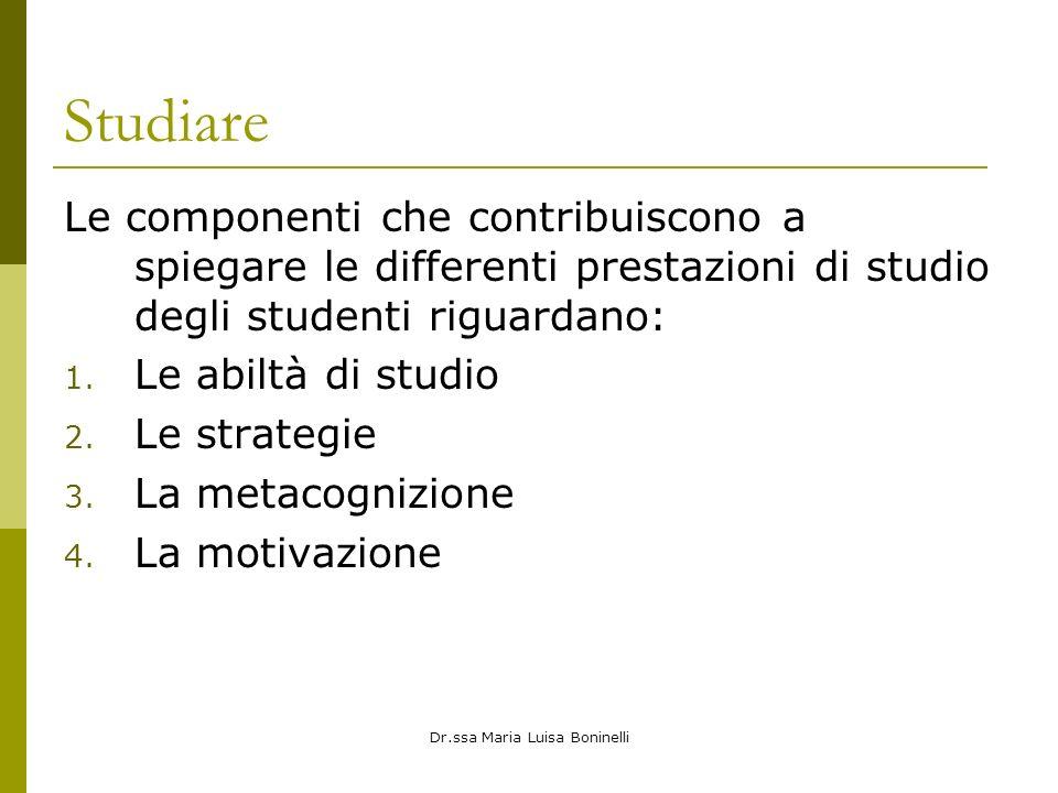 Dr.ssa Maria Luisa Boninelli Studiare Le componenti che contribuiscono a spiegare le differenti prestazioni di studio degli studenti riguardano: 1. Le