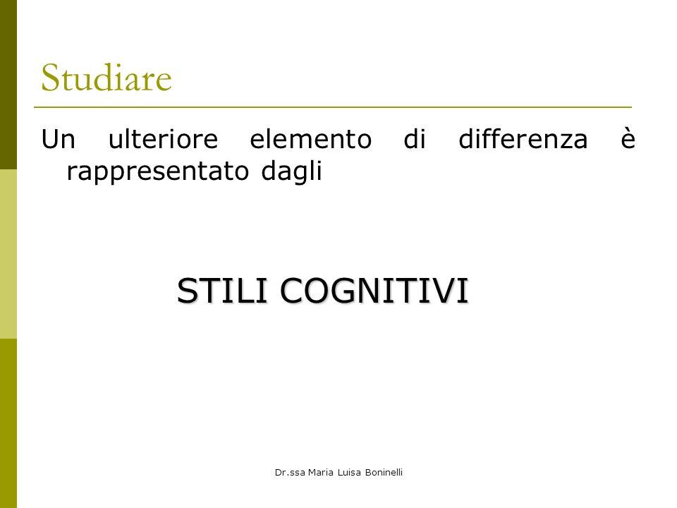 Dr.ssa Maria Luisa Boninelli Studiare Un ulteriore elemento di differenza è rappresentato dagli STILI COGNITIVI