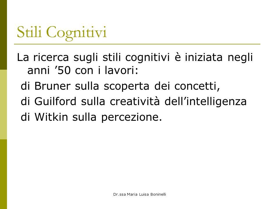 Dr.ssa Maria Luisa Boninelli Stili Cognitivi La ricerca sugli stili cognitivi è iniziata negli anni 50 con i lavori: di Bruner sulla scoperta dei concetti, di Guilford sulla creatività dellintelligenza di Witkin sulla percezione.