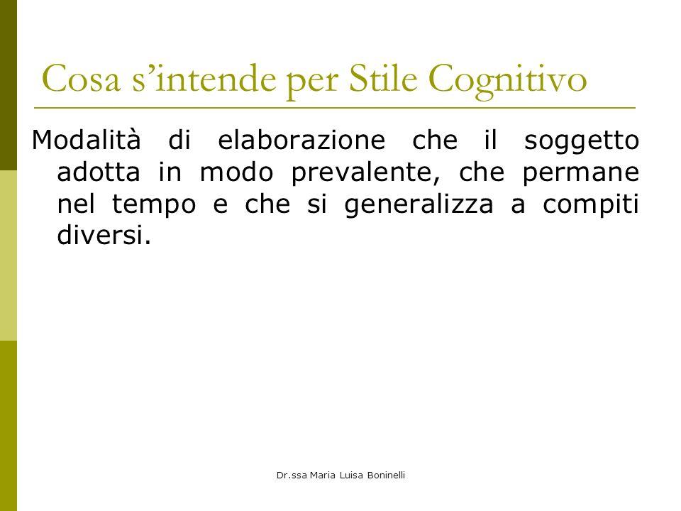 Dr.ssa Maria Luisa Boninelli Cosa sintende per Stile Cognitivo Modalità di elaborazione che il soggetto adotta in modo prevalente, che permane nel tempo e che si generalizza a compiti diversi.