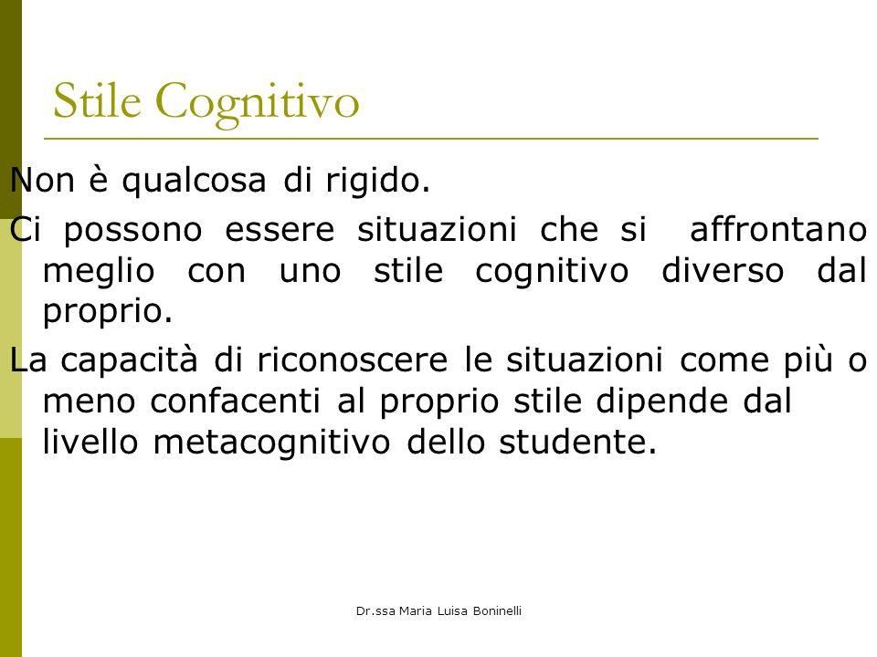Dr.ssa Maria Luisa Boninelli Stile Cognitivo Non è qualcosa di rigido. Ci possono essere situazioni che si affrontano meglio con uno stile cognitivo d