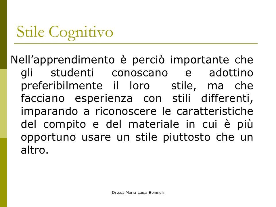 Dr.ssa Maria Luisa Boninelli Stile Cognitivo Nellapprendimento è perciò importante che gli studenti conoscano e adottino preferibilmente il loro stile