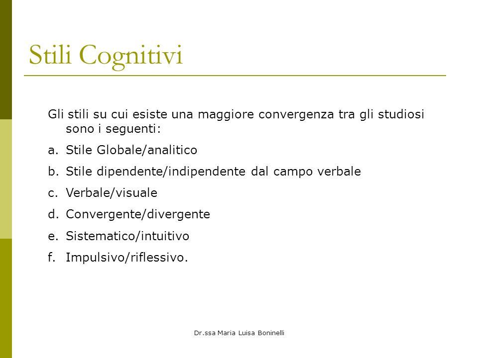 Dr.ssa Maria Luisa Boninelli Stili Cognitivi Gli stili su cui esiste una maggiore convergenza tra gli studiosi sono i seguenti: a.Stile Globale/analit