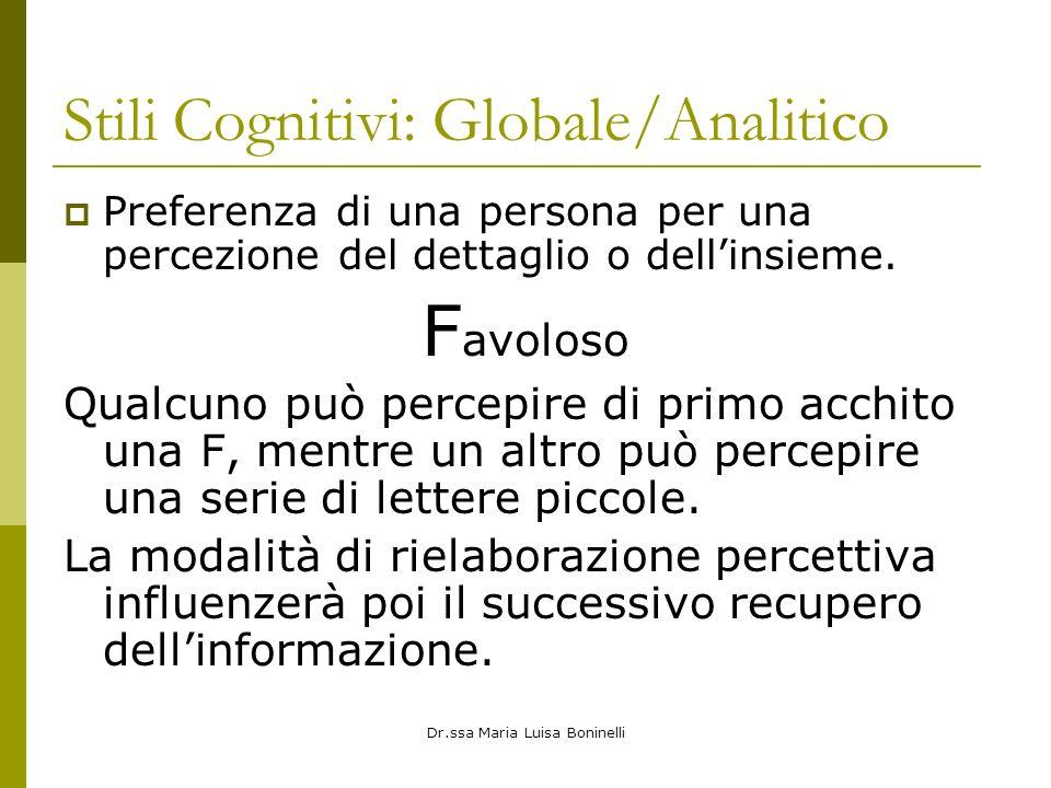Dr.ssa Maria Luisa Boninelli Stili Cognitivi: Globale/Analitico Preferenza di una persona per una percezione del dettaglio o dellinsieme. F avoloso Qu