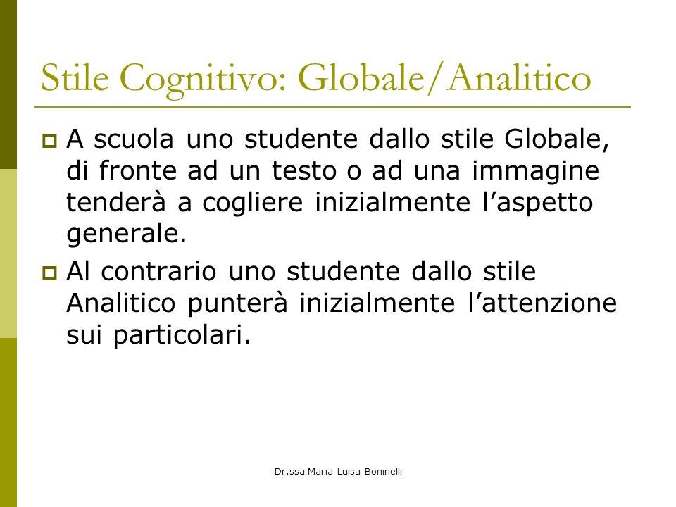 Dr.ssa Maria Luisa Boninelli Stile Cognitivo: Globale/Analitico A scuola uno studente dallo stile Globale, di fronte ad un testo o ad una immagine tenderà a cogliere inizialmente laspetto generale.