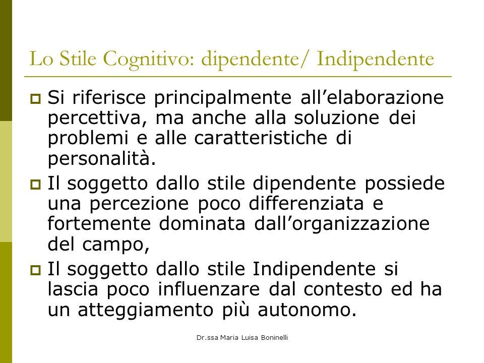 Dr.ssa Maria Luisa Boninelli Lo Stile Cognitivo: dipendente/ Indipendente Si riferisce principalmente allelaborazione percettiva, ma anche alla soluzione dei problemi e alle caratteristiche di personalità.