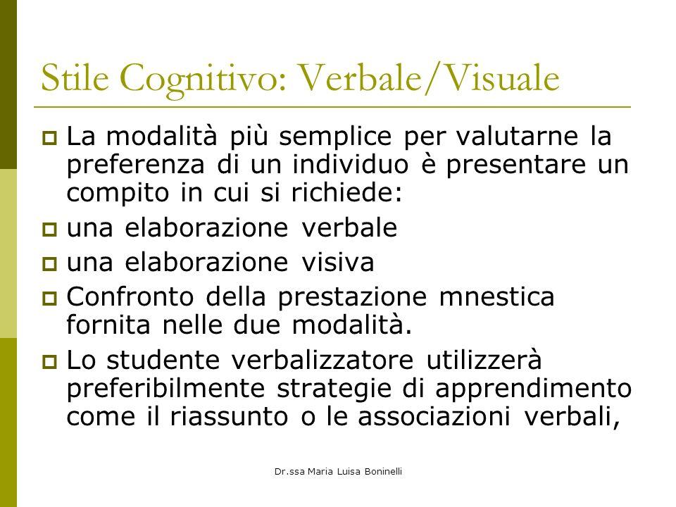 Dr.ssa Maria Luisa Boninelli Stile Cognitivo: Verbale/Visuale La modalità più semplice per valutarne la preferenza di un individuo è presentare un com