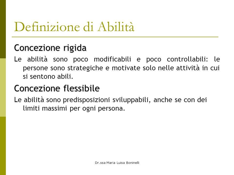 Dr.ssa Maria Luisa Boninelli Definizione di Abilità Concezione rigida Le abilità sono poco modificabili e poco controllabili: le persone sono strategi