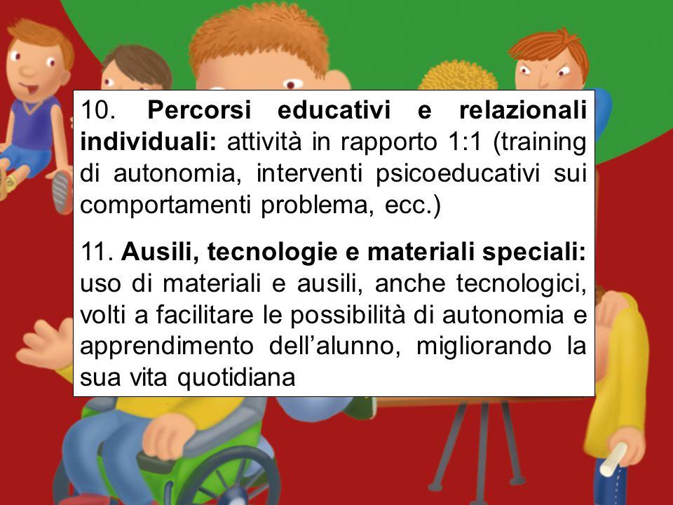 8. Percorsi educativi e relazionali comuni: laboratori creativi, espressivi, di educazione socioaffettiva, alle life skills, autonomie, ecc.; vari tip