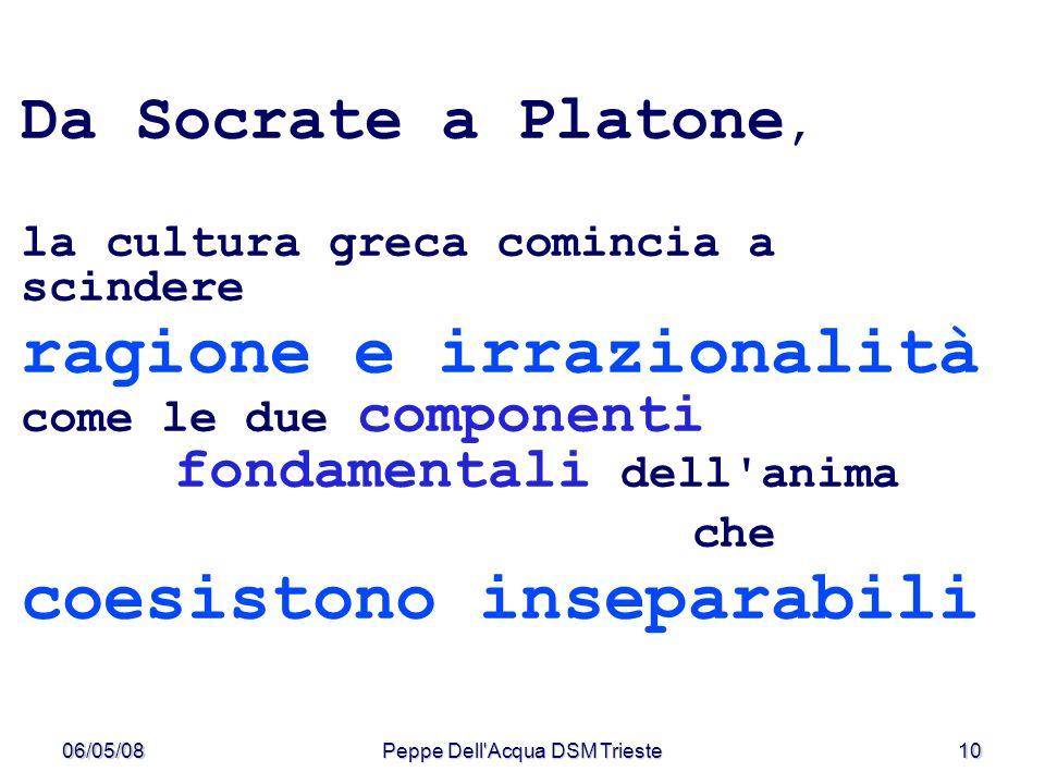 06/05/08Peppe Dell'Acqua DSM Trieste10 Da Socrate a Platone, la cultura greca comincia a scindere ragione e irrazionalità come le due componenti fonda