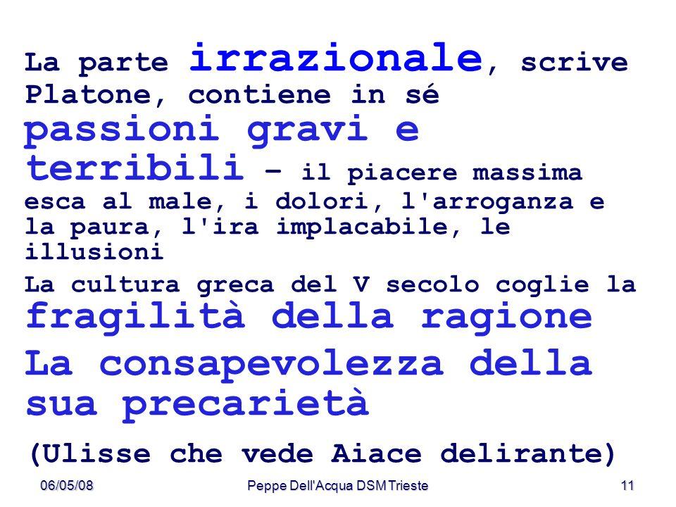 06/05/08Peppe Dell'Acqua DSM Trieste11 La parte irrazionale, scrive Platone, contiene in sé passioni gravi e terribili – il piacere massima esca al ma