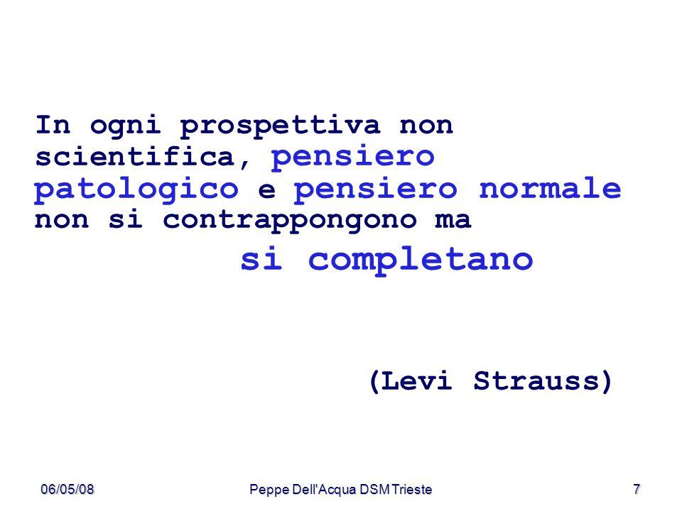 06/05/08Peppe Dell'Acqua DSM Trieste7 In ogni prospettiva non scientifica, pensiero patologico e pensiero normale non si contrappongono ma si completa