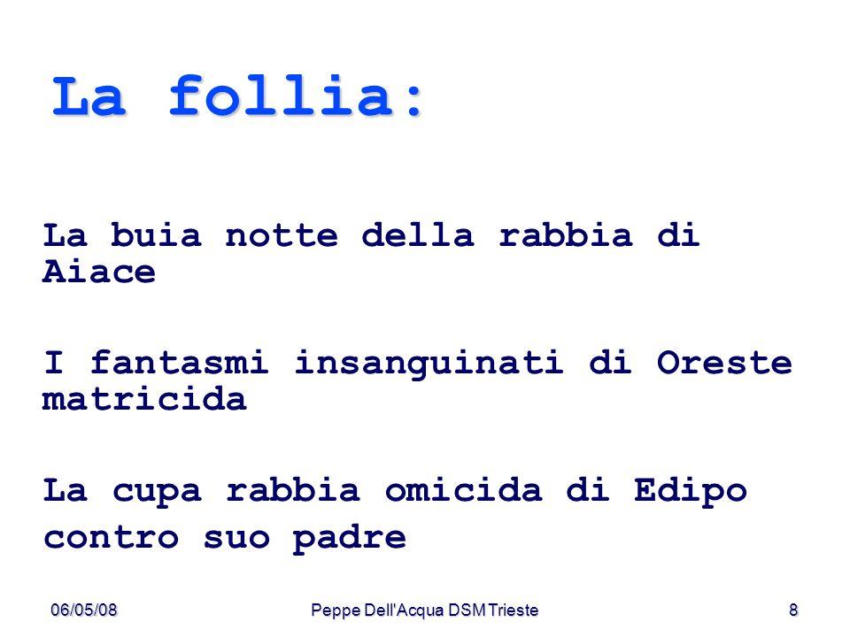 06/05/08Peppe Dell Acqua DSM Trieste9 Per i Greci mania indica il furore divino ma anche ispirazione poetica e profetica ma anche delirio di un ammalato