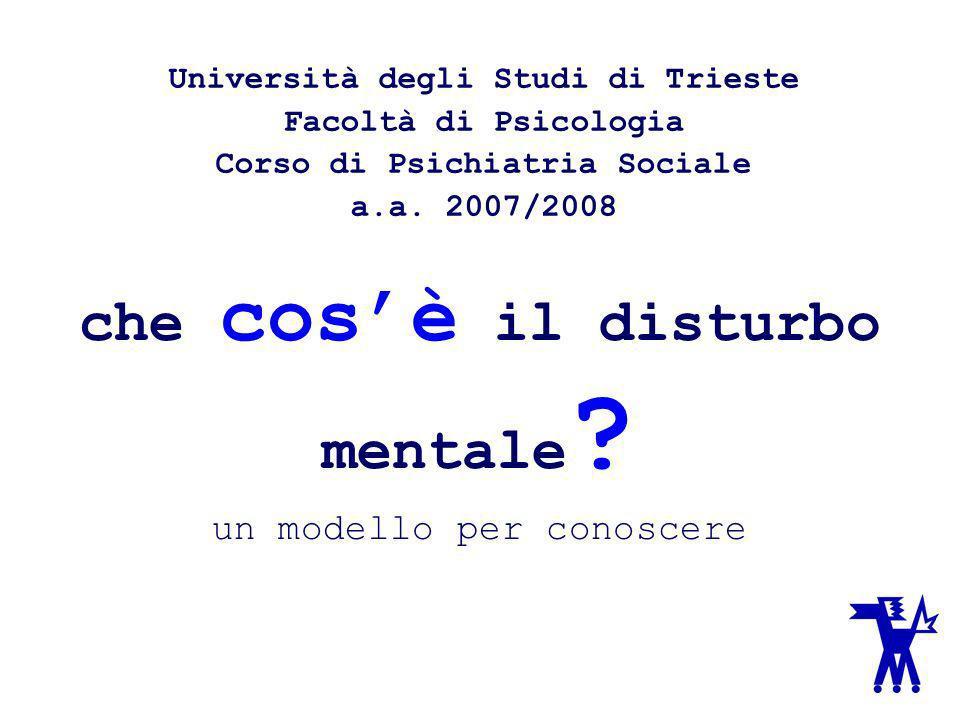 che cosè il disturbo mentale ? un modello per conoscere Università degli Studi di Trieste Facoltà di Psicologia Corso di Psichiatria Sociale a.a. 2007