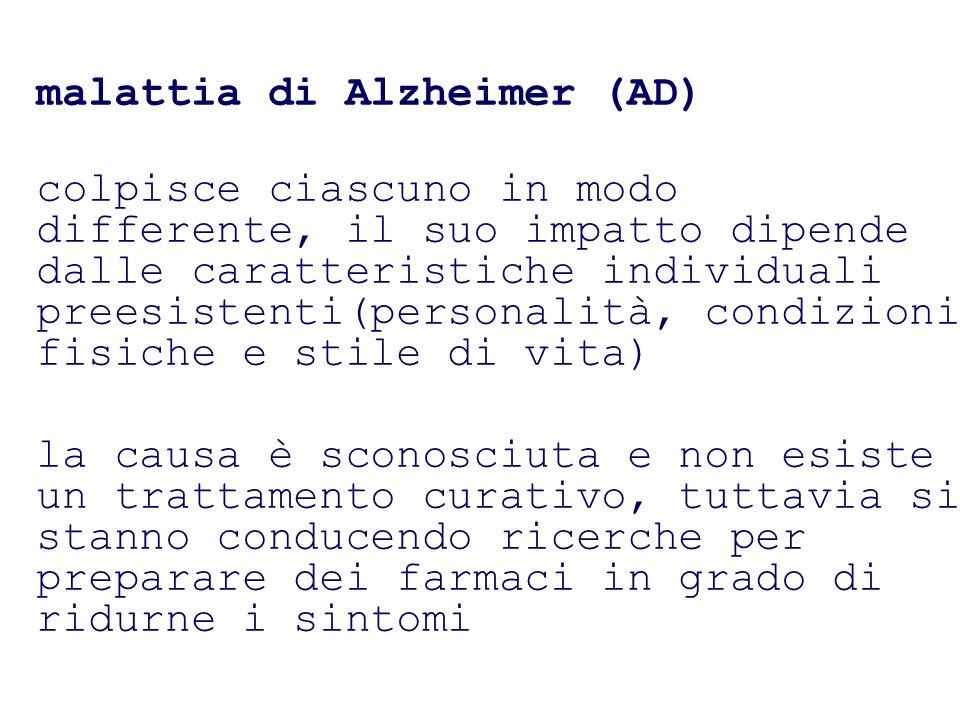 malattia di Alzheimer (AD) colpisce ciascuno in modo differente, il suo impatto dipende dalle caratteristiche individuali preesistenti(personalità, co