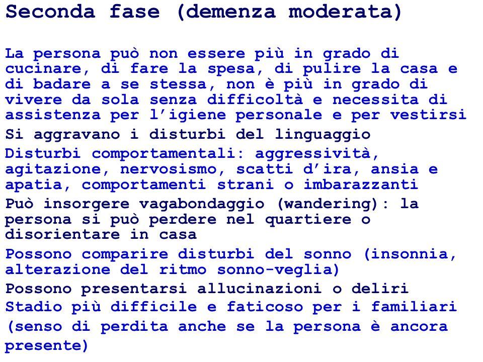 Seconda fase (demenza moderata) La persona può non essere più in grado di cucinare, di fare la spesa, di pulire la casa e di badare a se stessa, non è