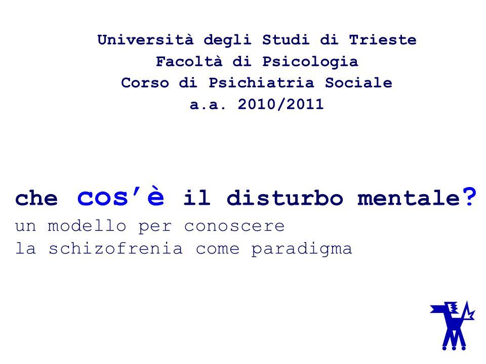 che cosè il disturbo mentale ? un modello per conoscere la schizofrenia come paradigma Università degli Studi di Trieste Facoltà di Psicologia Corso d