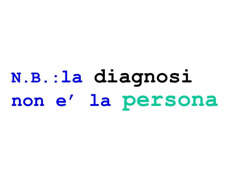 N.B.: la diagnosi non e la persona
