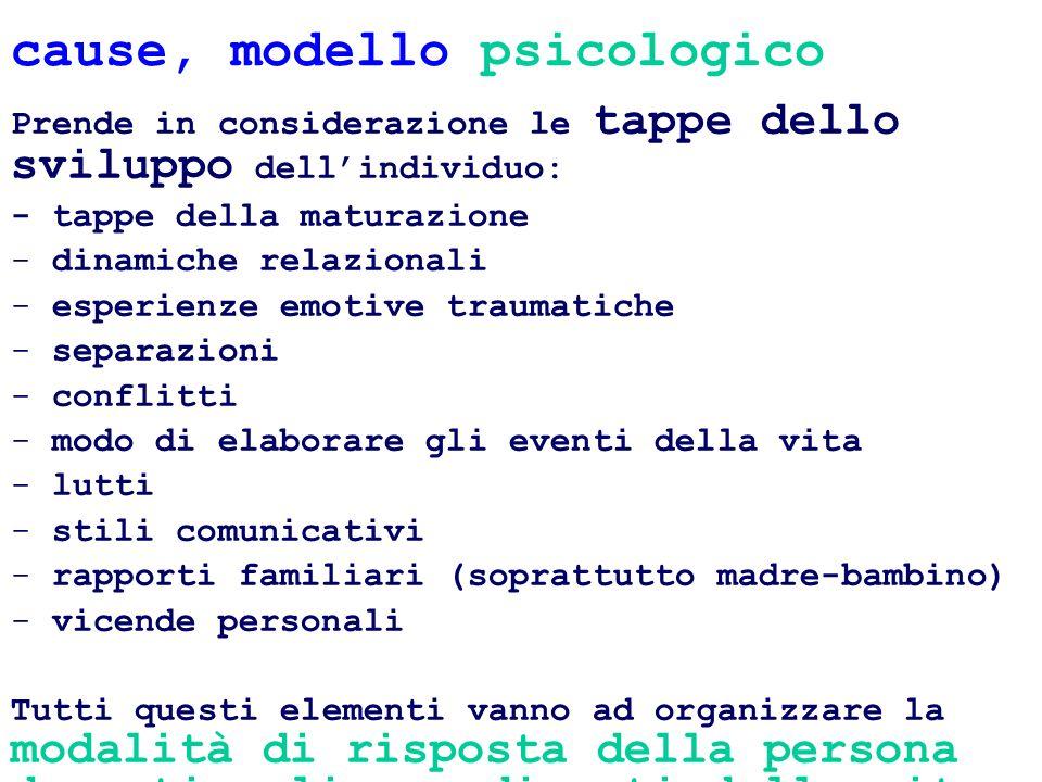 cause, modello psicologico Prende in considerazione le tappe dello sviluppo dellindividuo: - tappe della maturazione - dinamiche relazionali - esperie