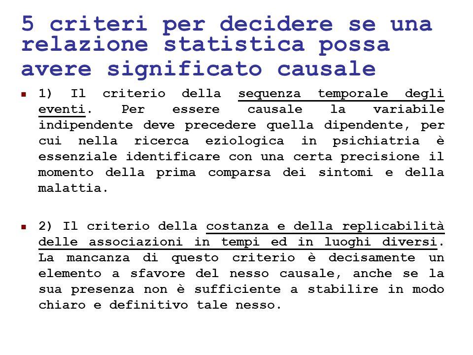 24/05/1112 5 criteri per decidere se una relazione statistica possa avere significato causale 1) Il criterio della sequenza temporale degli eventi. Pe