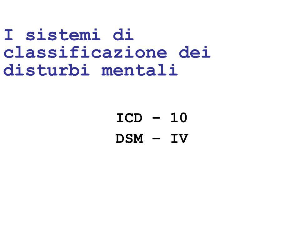 24/05/1114 I sistemi di classificazione dei disturbi mentali ICD – 10 DSM – IV