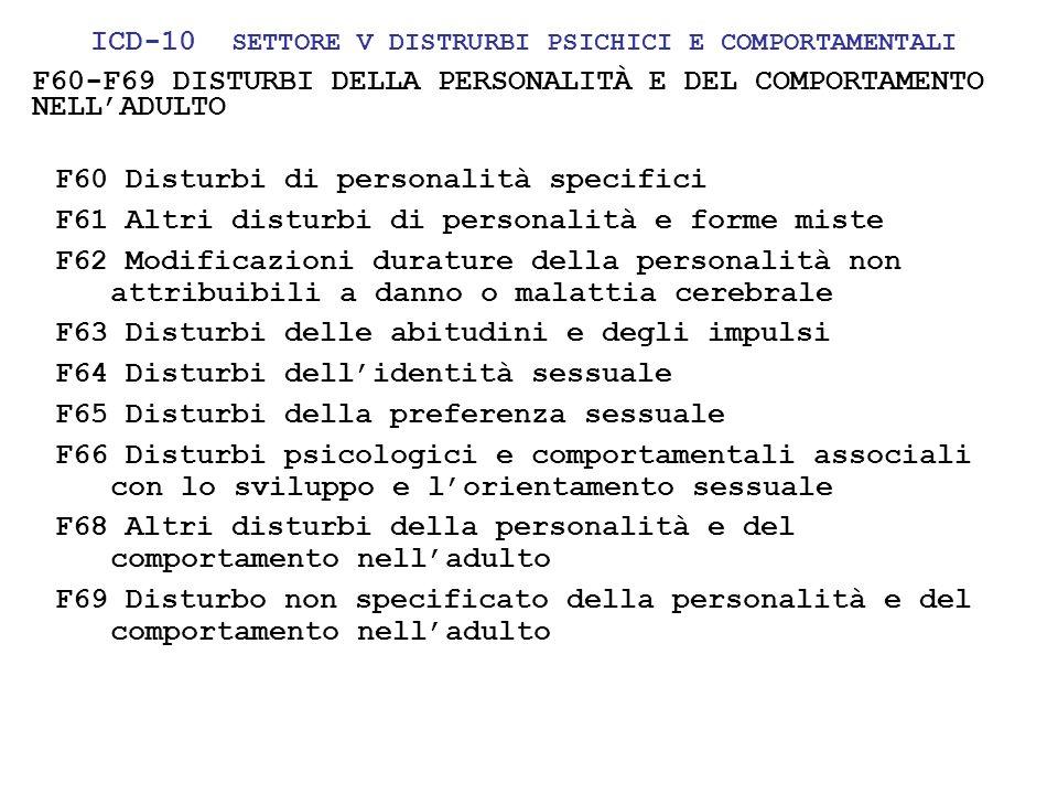 24/05/1120 F60-F69 DISTURBI DELLA PERSONALITÀ E DEL COMPORTAMENTO NELLADULTO F60 Disturbi di personalità specifici F61 Altri disturbi di personalità e