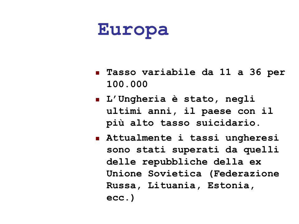24/05/1132 Europa Tasso variabile da 11 a 36 per 100.000 LUngheria è stato, negli ultimi anni, il paese con il più alto tasso suicidario. Attualmente
