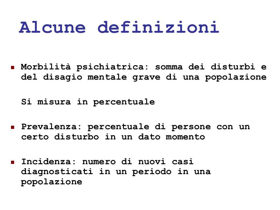 24/05/118 Alcune definizioni Morbilità psichiatrica: somma dei disturbi e del disagio mentale grave di una popolazione Si misura in percentuale Preval