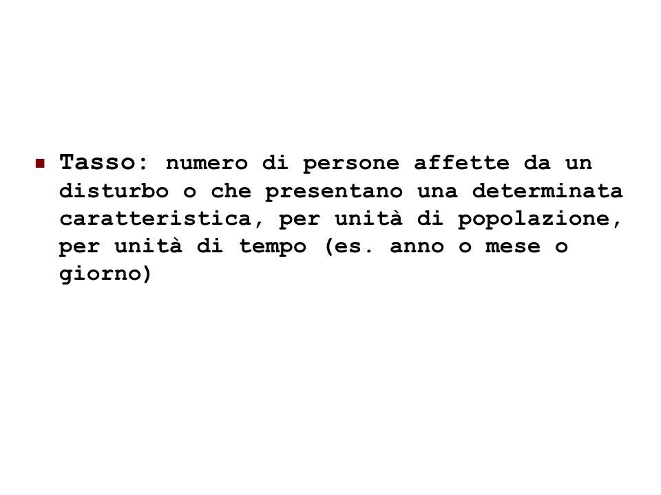 24/05/119 Tasso: numero di persone affette da un disturbo o che presentano una determinata caratteristica, per unità di popolazione, per unità di temp