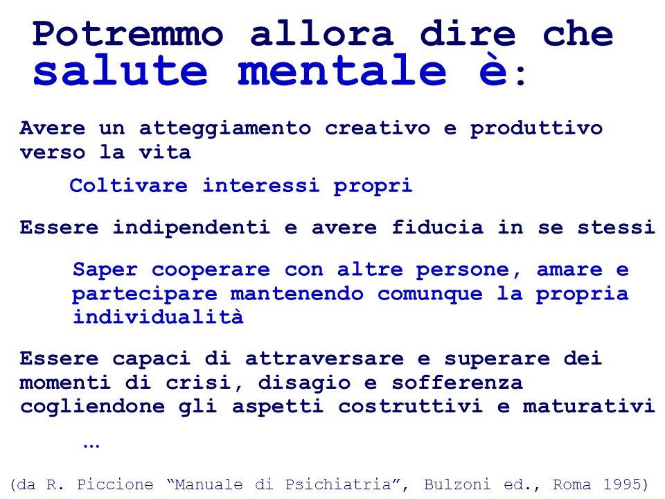Potremmo allora dire che salute mentale è : (da R. Piccione Manuale di Psichiatria, Bulzoni ed., Roma 1995) Coltivare interessi propri Avere un attegg