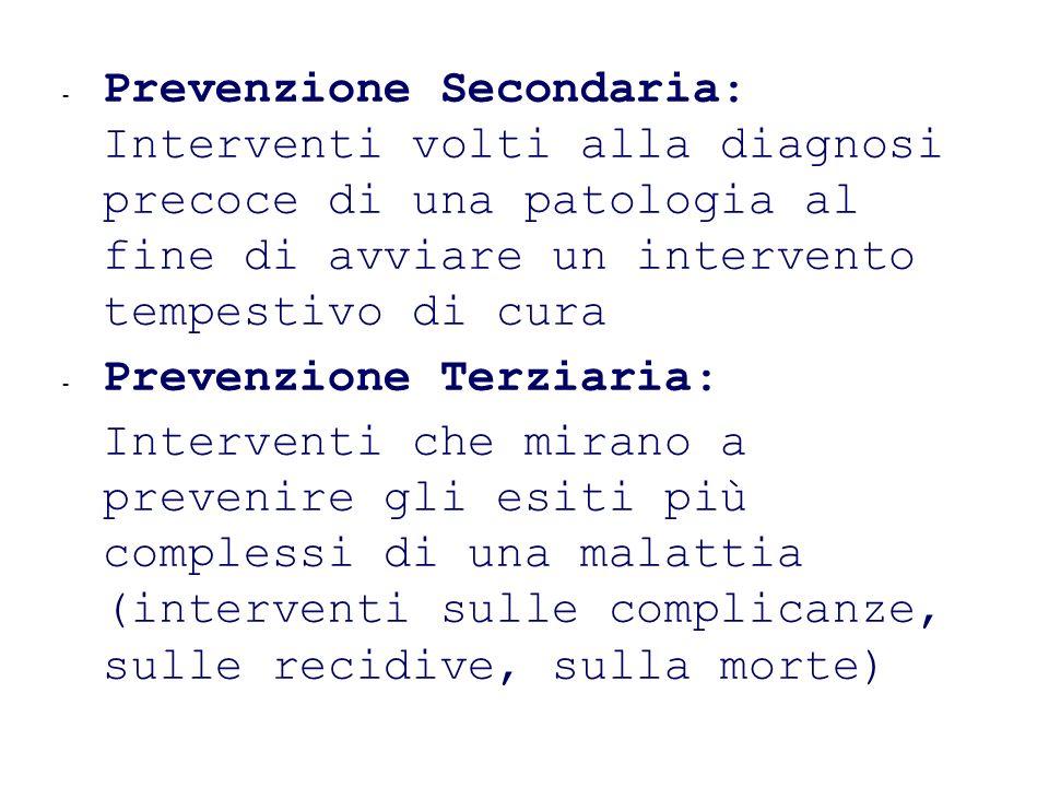 - Prevenzione Secondaria: Interventi volti alla diagnosi precoce di una patologia al fine di avviare un intervento tempestivo di cura - Prevenzione Te