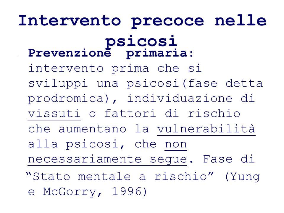 Intervento precoce nelle psicosi - Prevenzione primaria: intervento prima che si sviluppi una psicosi(fase detta prodromica), individuazione di vissut