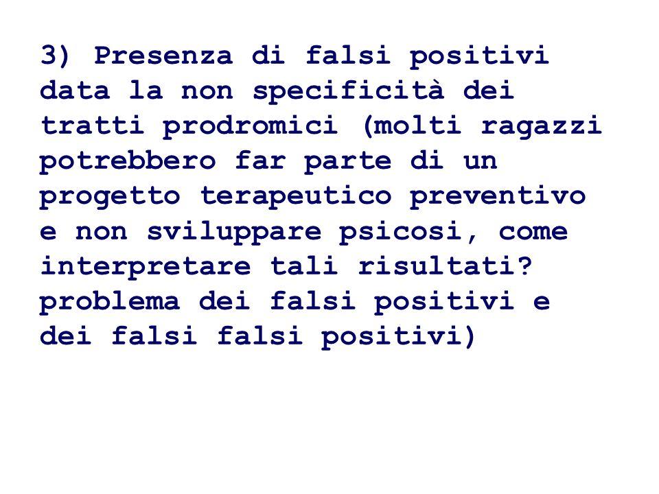 3) Presenza di falsi positivi data la non specificità dei tratti prodromici (molti ragazzi potrebbero far parte di un progetto terapeutico preventivo