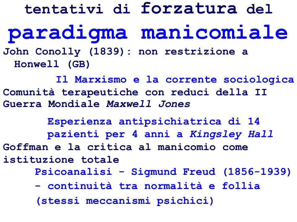 tentativi di forzatura del paradigma manicomiale John Conolly (1839): non restrizione a Honwell (GB) Psicoanalisi - Sigmund Freud (1856-1939) - contin