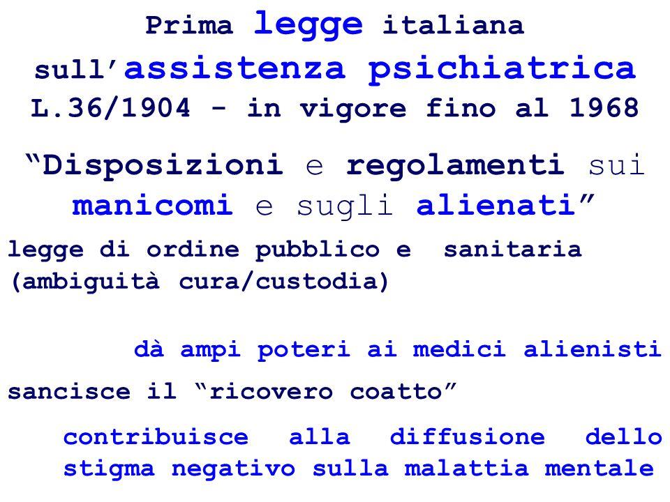 Prima legge italiana sull assistenza psichiatrica L.36/1904 - in vigore fino al 1968 sancisce il ricovero coatto legge di ordine pubblico e sanitaria