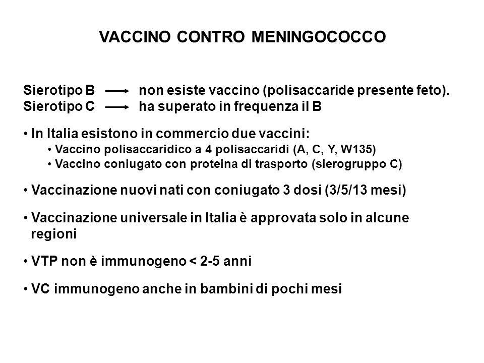 VACCINO CONTRO MENINGOCOCCO Sierotipo B non esiste vaccino (polisaccaride presente feto). Sierotipo C ha superato in frequenza il B In Italia esistono