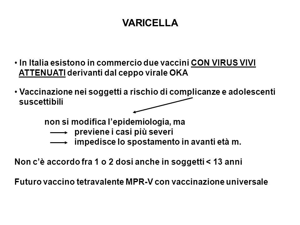 VARICELLA In Italia esistono in commercio due vaccini CON VIRUS VIVI ATTENUATI derivanti dal ceppo virale OKA Vaccinazione nei soggetti a rischio di c