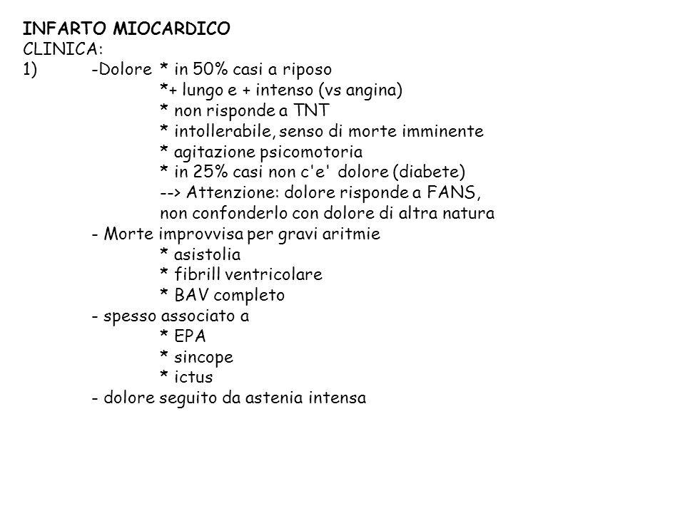 INFARTO MIOCARDICO CLINICA: 1)-Dolore* in 50% casi a riposo *+ lungo e + intenso (vs angina) * non risponde a TNT * intollerabile, senso di morte immi