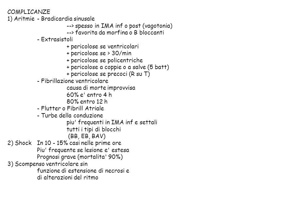 COMPLICANZE 1) Aritmie- Bradicardia sinusale --> spesso in IMA inf o post (vagotonia) --> favorita da morfina o B bloccanti - Extrasistoli + pericolos