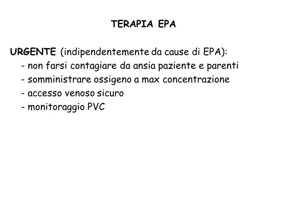 TERAPIA EPA URGENTE (indipendentemente da cause di EPA): - non farsi contagiare da ansia paziente e parenti - somministrare ossigeno a max concentrazi