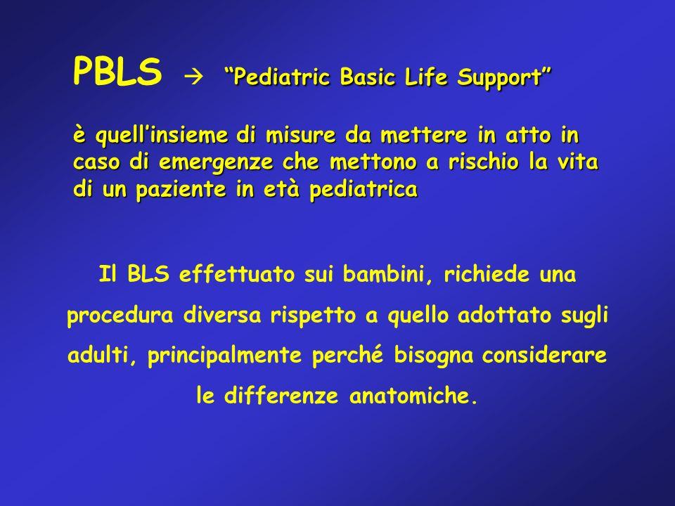 Il BLS effettuato sui bambini, richiede una procedura diversa rispetto a quello adottato sugli adulti, principalmente perché bisogna considerare le di